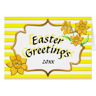 イースター挨拶の黄色のストライプの黄色いラッパスイセン グリーティングカード