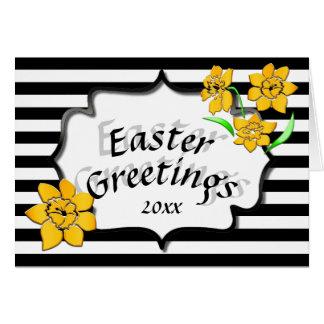 イースター挨拶の黒のストライプの黄色いラッパスイセン グリーティングカード