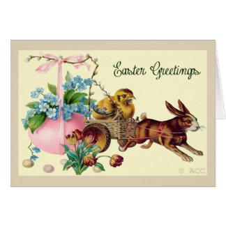 イースター挨拶ウサギ、卵、ひよこ、花、bas カード