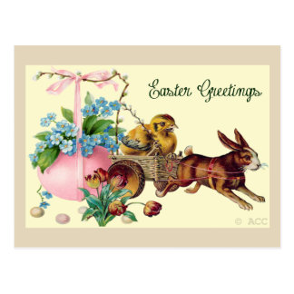 イースター挨拶ウサギ、卵、ひよこ、花、bas ポストカード