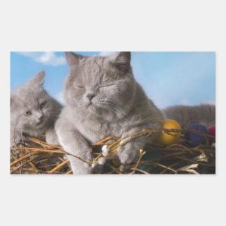 イースター猫 長方形シール