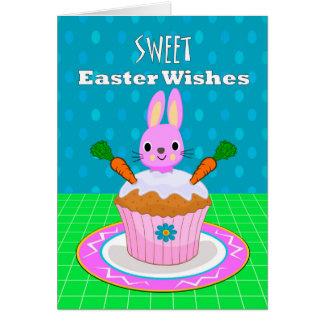 イースター甘い願い、ニンジン・ケーキのマフィン カード