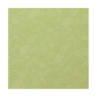 イースター緑のレトロのペイズリー ウッドウォールアート