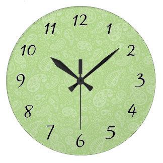 イースター緑のレトロのペイズリー ラージ壁時計