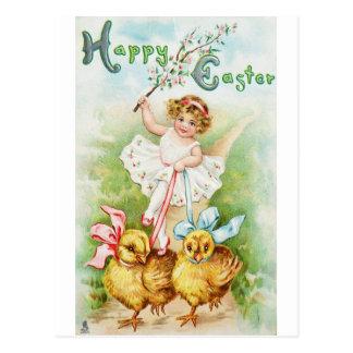 イースター郵便はがきの女の子の乗馬のひよこ ポストカード