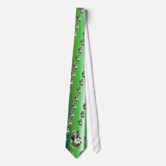 イースター金交差の白いLilly花-緑 オリジナルネクタイ