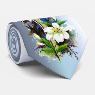 イースター金十字およびLillyの白い花 オリジナルタイ