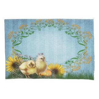 イースター鶏(2人の側面)の枕カバー 枕カバー