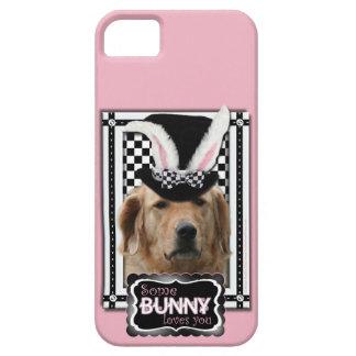イースター-バニー愛します-ゴールデン・リトリーバー iPhone SE/5/5s ケース