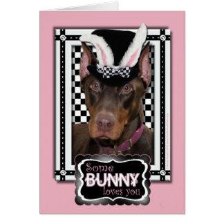 イースター-バニー愛します-ドーベルマン犬 カード