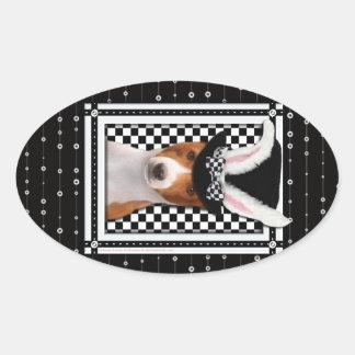 イースター-バニー愛します- Basenji 楕円形シール