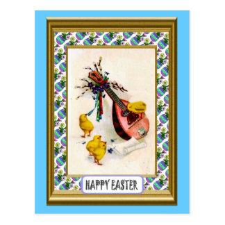 イースター-マンドリンおよびエステルのひよこ ポストカード