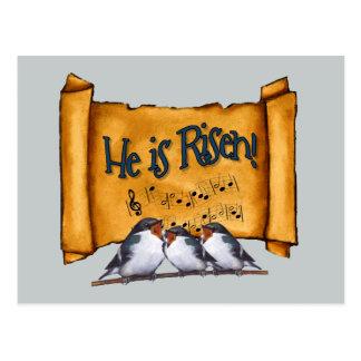 イースター: 彼は上がります! 古いスクロール、歌う鳥芸術 ポストカード