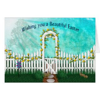 イースター-黄色バラまたは格子垣が付いている庭 カード