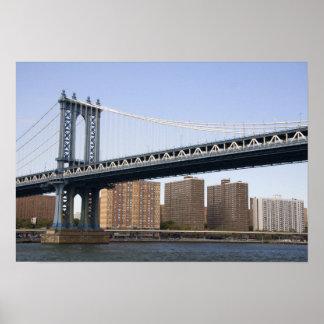 イースト・リバーに及ぶマンハッタン橋 ポスター
