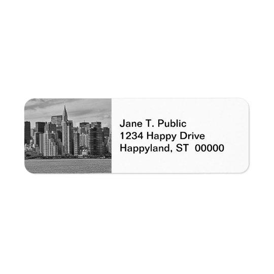 イースト・リバーB&Wからのニューヨークシティのスカイライン 返信用宛名ラベル