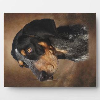 イーゼルが付いているBluetickのCoonhoundのプラク フォトプラーク