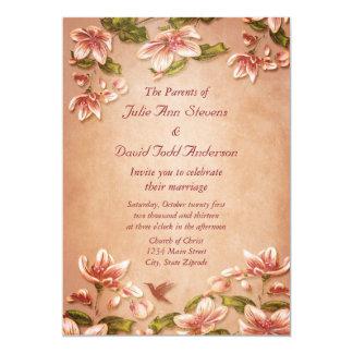 ウィスキーの結婚式のピンクのツツジのヴィンテージの花柄 カード