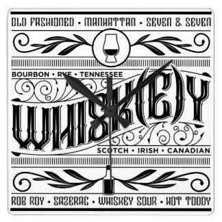 ウィスキー/ウィスキーの時間! スクエア壁時計