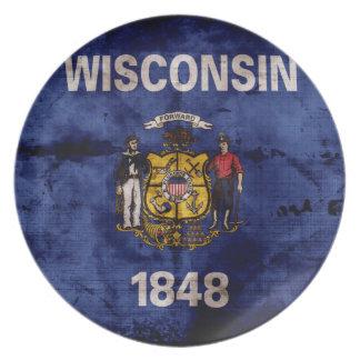 ウィスコンシンの古い旗 プレート