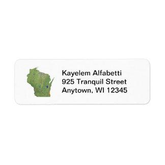 ウィスコンシンの地図の差出人住所ラベル ラベル