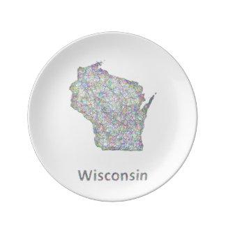 ウィスコンシンの地図 磁器プレート