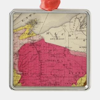 ウィスコンシンの地質地図 メタルオーナメント