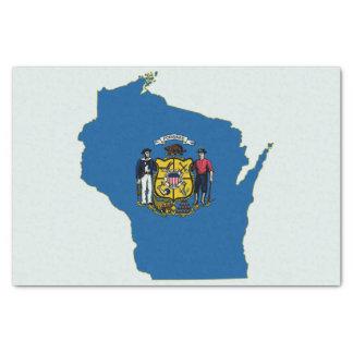 ウィスコンシンの州の旗および地図 薄葉紙