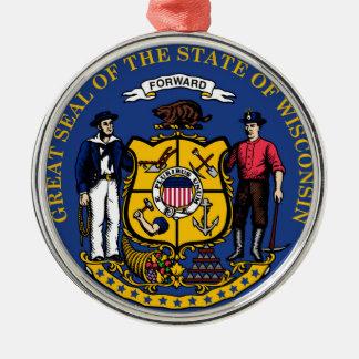 ウィスコンシンの州の旗のシール統一されたなアメリカの国r メタルオーナメント