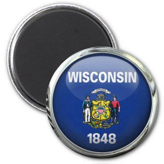 ウィスコンシンの州の旗の円形のガラス玉 マグネット