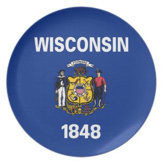 ウィスコンシンの州の旗統一されたなアメリカ共和国のsymbo プレート