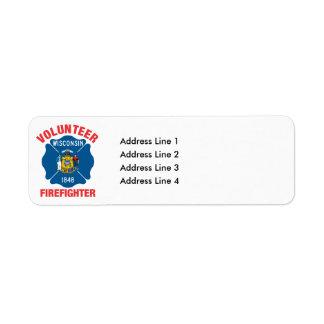 ウィスコンシンの旗のボランティアの消防士の十字 ラベル