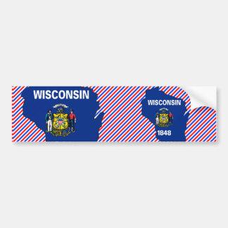 ウィスコンシンの旗の地図 バンパーステッカー
