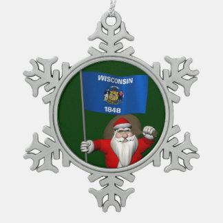 ウィスコンシンの旗を持つサンタクロース スノーフレークピューターオーナメント