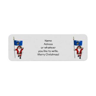ウィスコンシンの旗を持つサンタクロース ラベル
