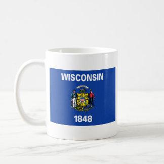 ウィスコンシンの旗 + 地図のマグ コーヒーマグカップ