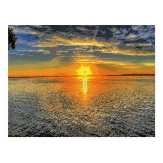 ウィスコンシンの美しい景色のsunset湖 ポストカード
