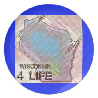 """""""ウィスコンシン4生命""""の州の地図のプライドのデザイン プレート"""