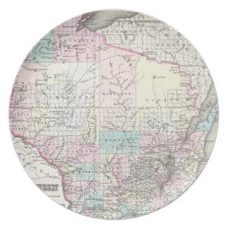 ウィスコンシン(1855年)のヴィンテージの地図 プレート