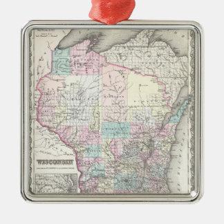 ウィスコンシン(1855年)のヴィンテージの地図 メタルオーナメント