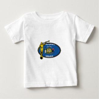 ウィスコンシンLDSの代表団の楕円形ラベルの天使無しモローニ ベビーTシャツ