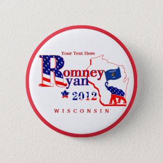ウィスコンシンRomneyおよびライアン2012ボタンは2つをカスタマイズ 5.7cm 丸型バッジ
