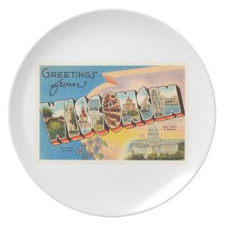 ウィスコンシンWIの古いヴィンテージ旅行記念品の州 プレート