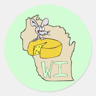 ウィスコンシンWIの地図及びチーズマウスの漫画の芸術 ラウンドシール