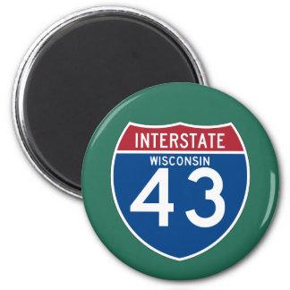 ウィスコンシンWI I-43の州間幹線道路の盾- マグネット