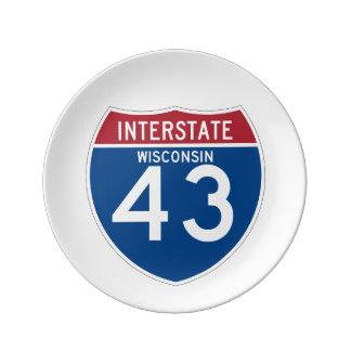ウィスコンシンWI I-43の州間幹線道路の盾- 磁器プレート