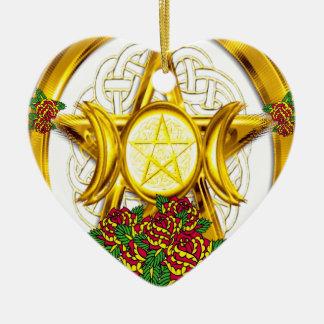 ウィッカ信者のバラとの異教のな星形五角形の金ゴールド セラミックオーナメント