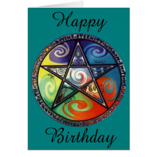 ウィッカ信者の五芒星の誕生日 カード