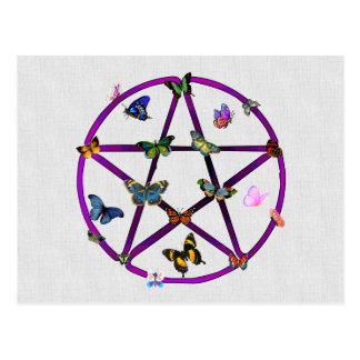 ウィッカ信者の星および蝶 ポストカード