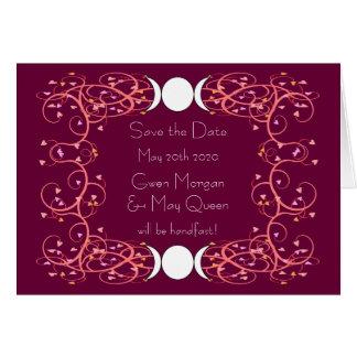 ウィッカ信者の結婚式のレズビアンの保存日付Notecard カード